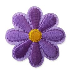 PURPLE DAISY MOTIF IRON ON EMBROIDERED PATCH APPLIQUE